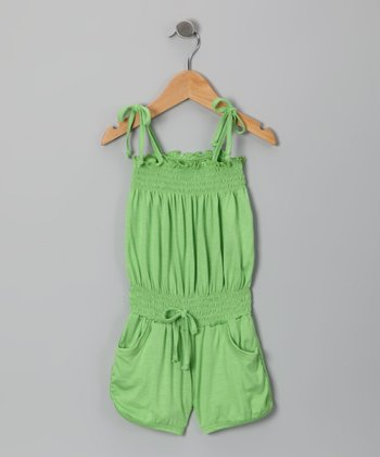 Lime Shirred Romper - Toddler & Girls