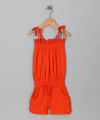 Orange Shirred Romper - Girls