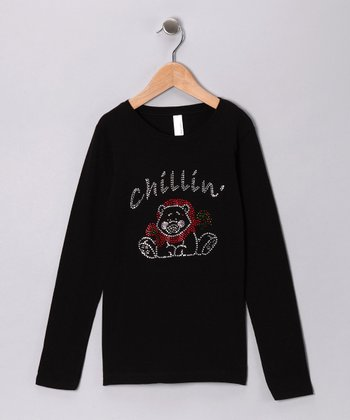 Black Rhinestone 'Chillin' Bear Tee - Girls