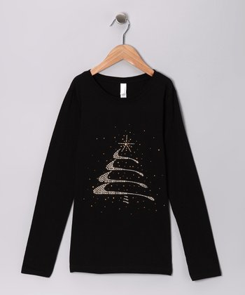 Black Rhinestone Christmas Tree Tee - Girls