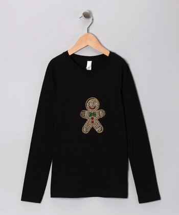 Black Rhinestone Gingerbread Cookie Tee - Girls