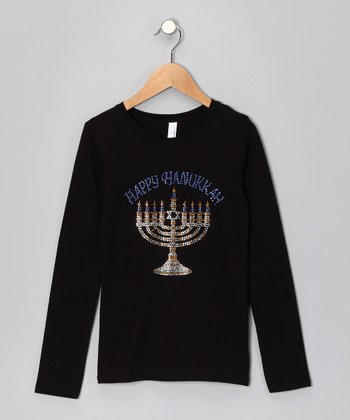 Black 'Happy Hanukkah' Tee - Girls
