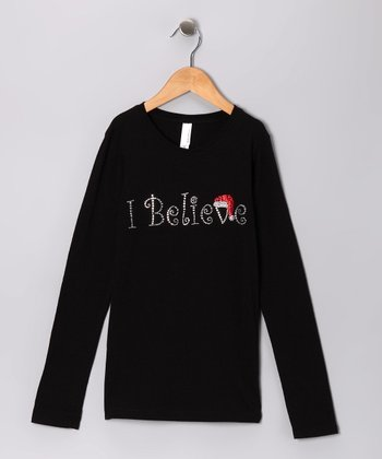 Black Rhinestone 'I Believe' Tee - Toddler & Girls