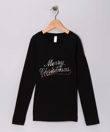 BlackRhinestone 'Merry Christmas' Tee - Girls