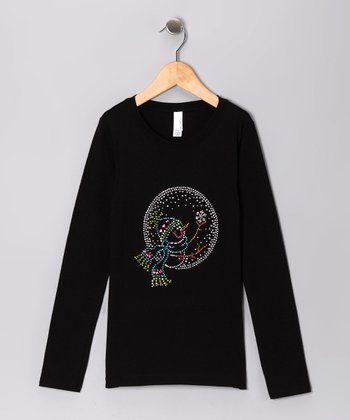 Black Rhinestone Snow Globe Tee - Toddler & Girls