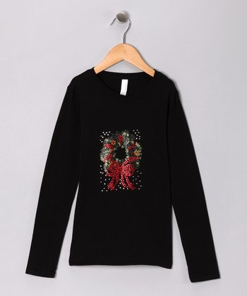 Black Rhinestone Wreath Tee - Girls
