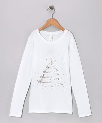 White Rhinestone Christmas Tree Tee - Toddler & Girls