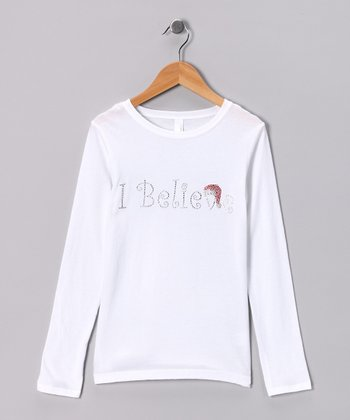 White Rhinestone 'I Believe' Tee - Toddler & Girls