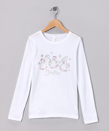 White Rhinestone 'Chillin'' Penguin Tee - Toddler & Girls