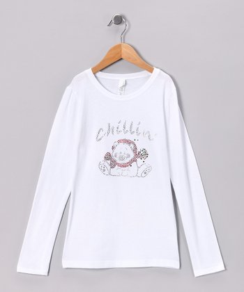 White Rhinestone 'Chillin'' Bear Tee - Toddler & Girls