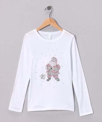 White & Red Rhinestone Santa Tee - Toddler & Girls