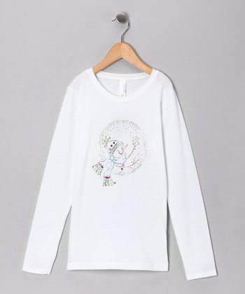 White Rhinestone Snow Globe Tee - Toddler & Girls