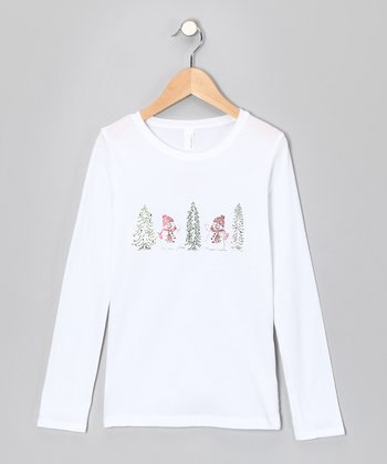 White & Red Rhinestone Snow People Tree Tee - Toddler & Girls