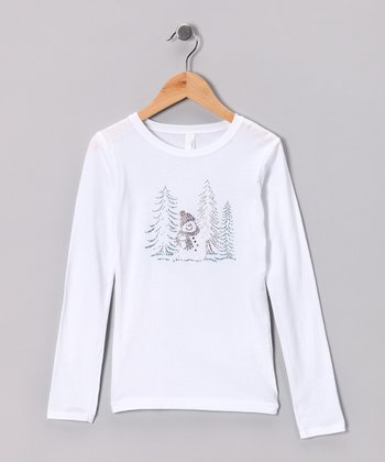 White & Blue Snowman Tree Tee - Girls