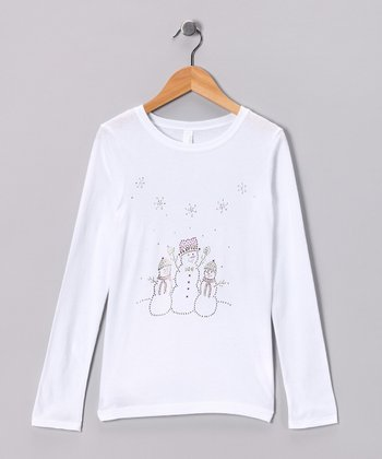 White Rhinestone Snow People Tee - Toddler & Girls