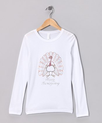 White 'Happy Thanksgiving' Turkey Tee - Girls