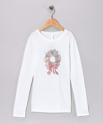 White Rhinestone Wreath Tee - Toddler & Girls