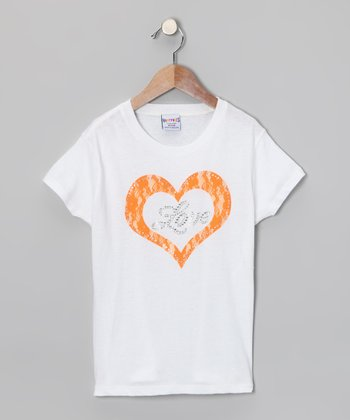White & Orange Heart Tee