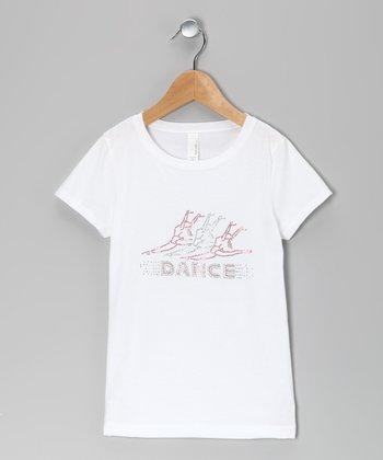 White 'Dance' Ballerina Tee - Girls