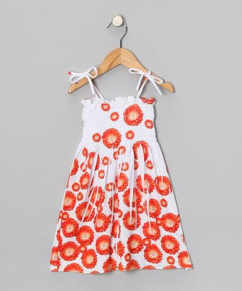Orange Daisy Shirred Dress - Toddler & Girls