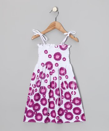 Purple Daisy Shirred Dress - Toddler & Girls