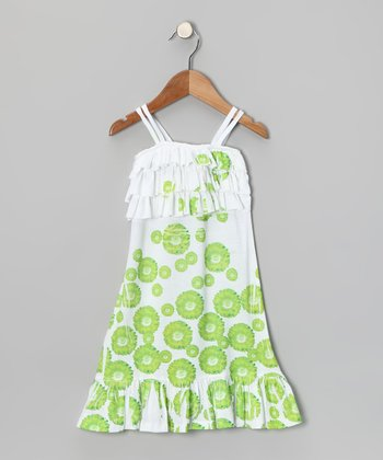 Lime Daisy Ruffle Dress - Toddler & Girls