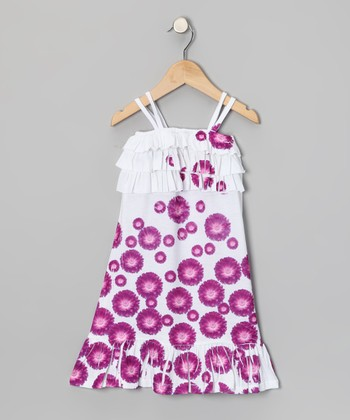 Purple Daisy Ruffle Dress - Toddler & Girls