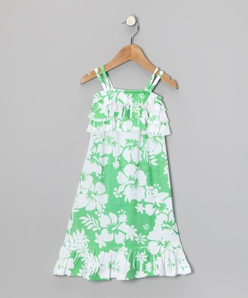 Lime Hawaiian Ruffle Dress - Toddler & Girls