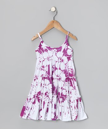 Purple Hawaiian Tiered Dress - Toddler & Girls