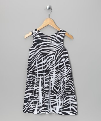 Black Zebra Tiered Dress - Toddler & Girls