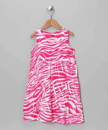 Pink Zebra Tiered Dress - Toddler & Girls