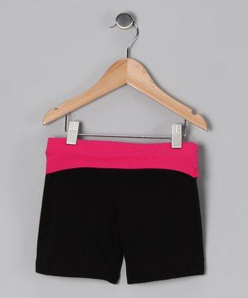 Black & Fuchsia Wide Band Shorts - Toddler & Girls