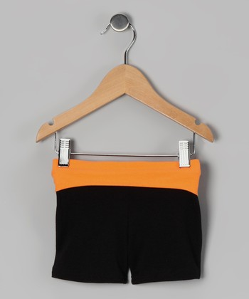 Black & Orange Wide Band Shorts - Toddler & Girls