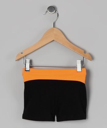 Black & Orange Wide Band Shorts - Toddler & Girls
