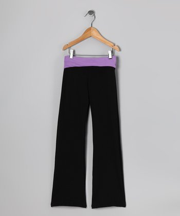Black & Purple Yoga Pants - Girls