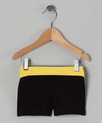 Black & Yellow Wide Band Shorts - Toddler & Girls