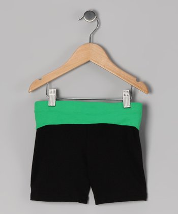 Black & Green Wide Band Shorts - Toddler & Girls