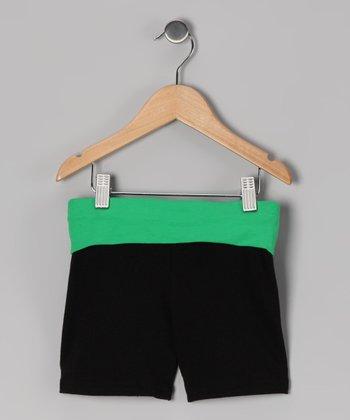 Black & Green Wide Band Shorts - Toddler & Girls