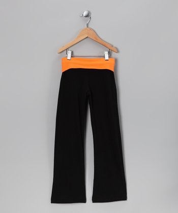 Black & Orange Yoga Pants - Toddler & Girls