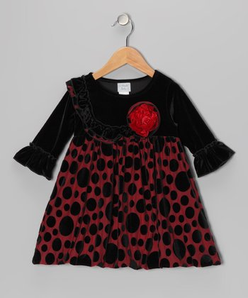Red & Black Polka Dot Velvet Bubble Dress - Girls