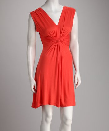 Coral Gathered Knot Dress