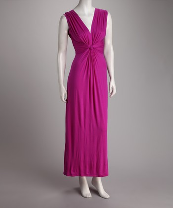 Berry Gathered Knot Maxi Dress