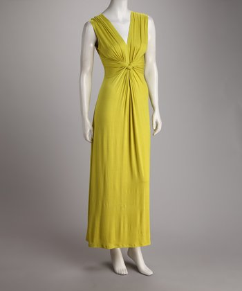 Lime Gathered Knot Maxi Dress