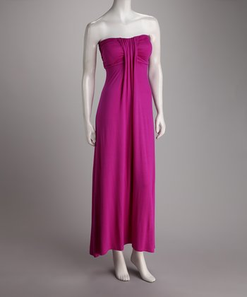 Berry Strapless Maxi Dress