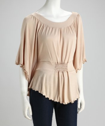 Khaki Ruched Cape-Sleeve Top