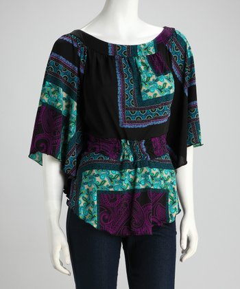 Purple & Teal Paisley Ruched Cape-Sleeve Top