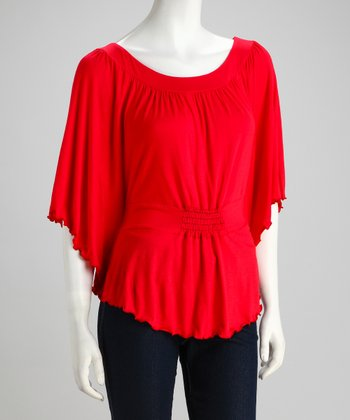Red Ruched Cape-Sleeve Top