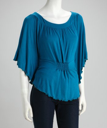 Teal Ruched Cape-Sleeve Top