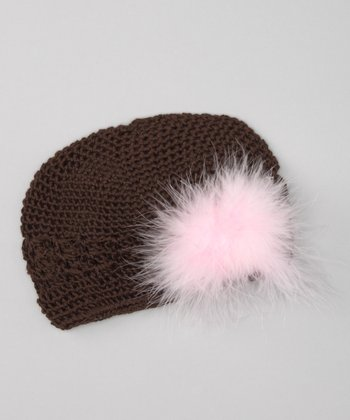 Haute Tot Chocolate & Light Pink Feather Beanie