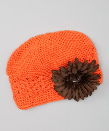 Orange & Brown Rhinestone Flower Beanie